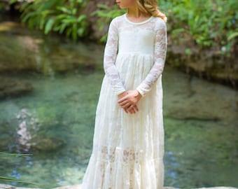 Flower Girl Dress-White Lace Long Sleeve Dress- Flower Girl Dresses- Ivory Girls Dress-Cream Dress- Rustic Wedding Dress