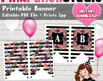 Editable Black and White Stripe Floral Banner Mother's Day Birthday Shower Anniversary PDF File INSTANT DOWNLOAD