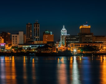 The skyline of Peoria, Illinois at night. Photo Print, Metal, Canvas, Framed.