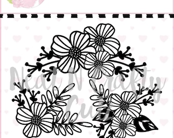 pretty blooms floral set A4 12x12 cutfile .  For scrapbooking and paper crafting