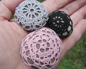 Crochet Stone Trio, crochet pebbles in grey, black and pink