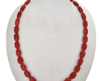 Apple Coral Bead Native American Necklace Single Strand