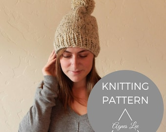 Knitting Pattern Easy Simple Δ Chunky Slouchy Knit Hat Beanie with Pom Pom Δ The Imojean Δ Instant Download