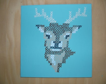 Painted Cross Stitch Deer