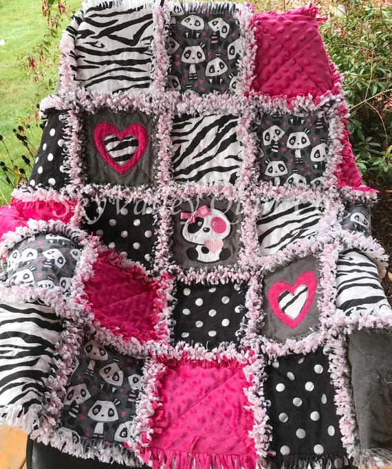 Baby Girl Rag Quilt NEW Panda Party Hot Pink And Black