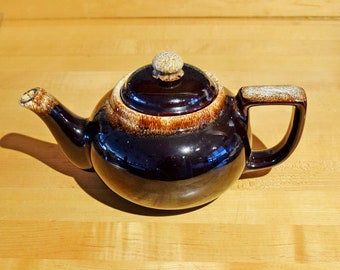 Vintage Gourmet Brown Drip Pottery Teapot
