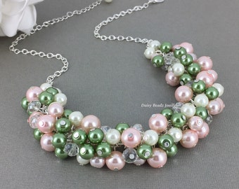 Pink and Olive Pearl Necklace Chunky Necklace Green and Pink Necklace Pearl Jewelry Olivie Green Necklace Blush Wedding