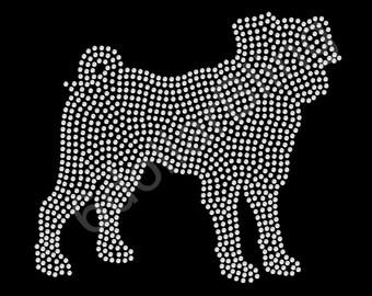 "Rhinestone Iron On Transfer ""Pug"" Large filled silhouette bling dog design"