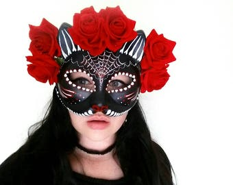 Hand painted dia de los muertos cat mask with roses