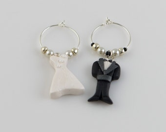 Wedding Wine Charms - Bride and groom, hand sculpted in polymer clay.