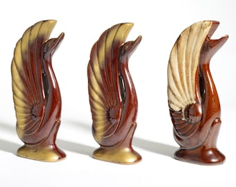 ceramic brown swan set : retro pottery mold glaze gold - three