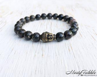 Earthy Buddha Bracelet, Buddhist Jewelry, Jasper Gemstone Bracelet, Wrist Mala, Mala Beads Bracelet, Healing Crystals Bracelet, Boho Jewelry
