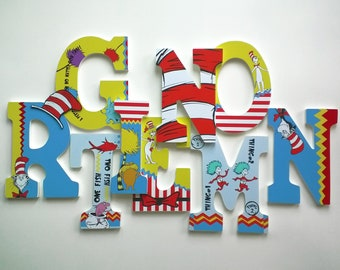 Dr Seuss Personalized, Custom, Wood Letters to Spell Name or Initials for Nursery, Boy's, Girl's Room or Playroom, Price per Letter