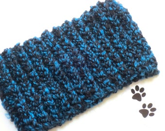 Dog Scarf Neck Warmer Cowl Pet Neckwarmer Blue Black Dog Collar Pet Dog Clothes Cat Puppy Accessories Winter Cowl Crochet Scarf Chunky Cozy