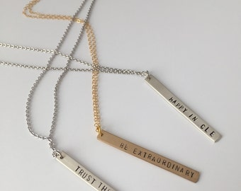 Custom Vertical Necklace // Double-sided Stamping