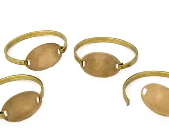 Raw Brass Bracelets With Oval ID Plate Package Of 4