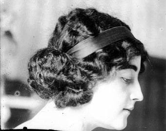 vintage photo Art Print Artist Model French Woman Thoughtful Profile 1900