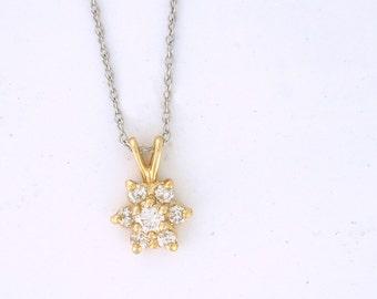 Diamond Cluster Star Necklace with Half Carat of Diamonds 14k yellow gold - PENDIA10012