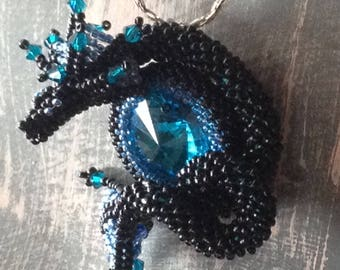 Black and Blue Dragon Pendant Only, Crochet Dragon Wrapping Around a One Inch Cabochon,Fantasy Wedding, Inspiring Pendant, Gaming Geek Gift