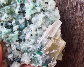 Gem Silica from Peru - Druzy Quartz + Chrysocolla with Calcite and Atacamite
