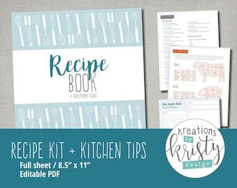Printable and Editable Recipe Binder Kit, Instant Digital Download