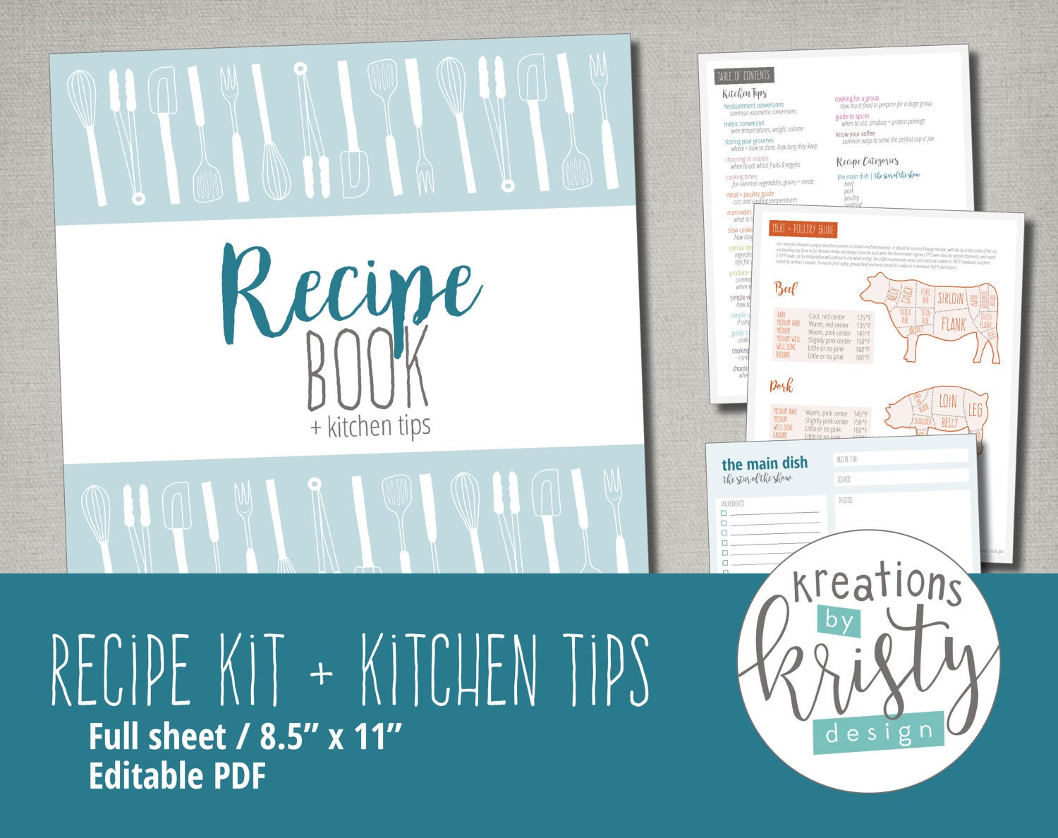 Printable and Editable Recipe Binder Kit Instant Digital