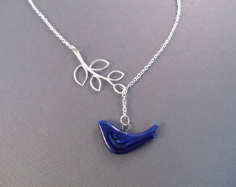 Bird Lariat Necklace, Silver Branch with Navy Porcelain Bird, Lariat Necklace, Swallow Jewelry, Bluebird Necklace, Bird Jewelry