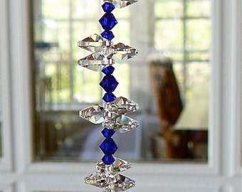 "Rainbow Maker, Swarovski Crystal Sun Catcher w/ 30mm Crystal Ball, Blue Crystal Beads and Crystal Octagons, Comes in 12 Colors - ""NATALIE"""