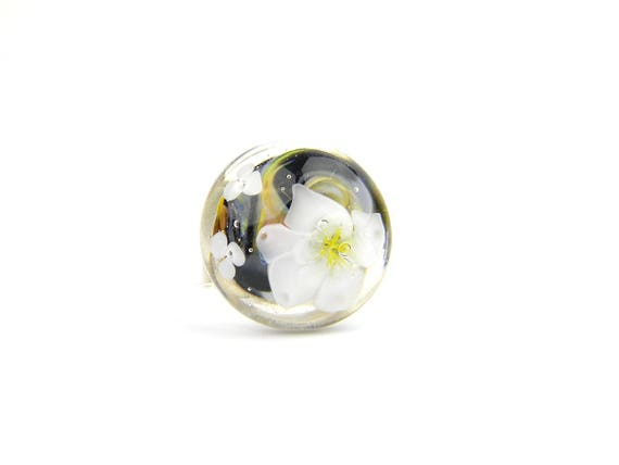 Art Glass Ring - Lotus Art Glass Bead Sterling Silver Ring - Classic Collection