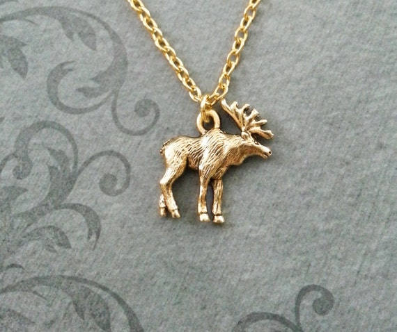 Moose necklace very small gold moose charm necklace moose aloadofball Images