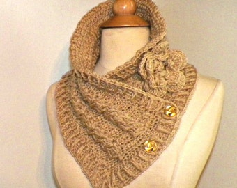 Tan Triangle Infinity Scarf Outlander Cowl Oversized Beige Brown Celtic Highland Chunky  Neckwarmer Winter  Crochet Knit Womens Winter Scarf