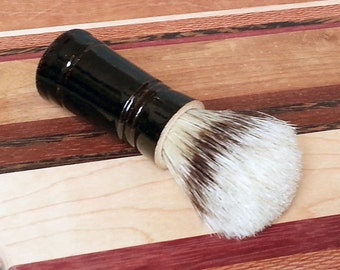 Black Men's Shaving Brush with Boars Hair Bristles Soft Stripe