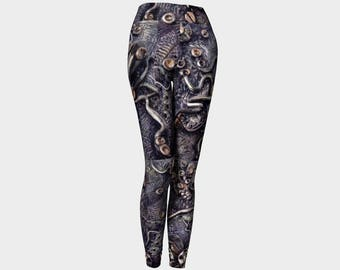 Steampunk leggings for women, octopus print leggings, unique yoga pants, printed footless tights by Felicianation Ink