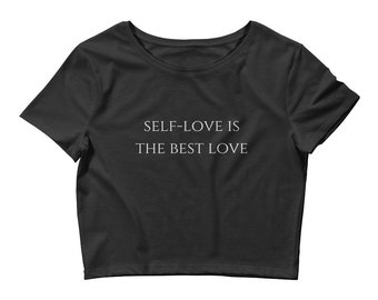 Self-love Best Love Women's Black Crop Tee