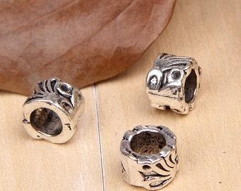 10pcs-9mm antique silver/Tibetan silver big hole DIY beads