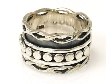 Sterling Silver Spin Ring With Three Outer Spinning Rings