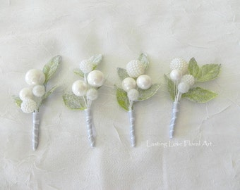 Winter Boutonniere, Frosted Leaves Boutonniere, Winter Wedding Boutonniere, White Berry Boutonniere