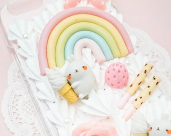 READY TO SHIP Kawaii Pastel Rainbow Sweets Molang Whipped Cream Handmade Custom iPhone 6/6S Decoden Case