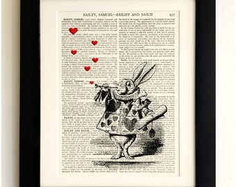 FRAMED ART PRINT on old antique book page - Alice in Wonderland, White Rabbit, Vintage Upcycled Wall Art Print Encyclopaedia Dictionary