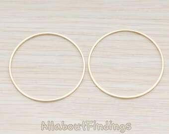 PDT305-05-G // Glossy Gold Plated Simple Round Link Pendant, 2 Pc