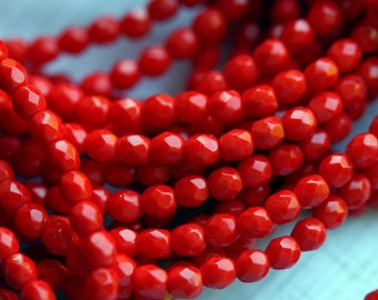 Czech Glass Beads - 4mm Fire Polished Beads - 4mm bright Red bead - Coral Red - 4mm Opaque Red Beads - Faceted Rounds - Bead Soup Beads