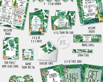 Jungle Party Package, Safari Party Package, Jungle Birthday Package, Tribal Party Package, Kids Birthday Package, Animal, Printable, Invite