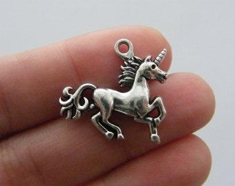 2 Unicorn charms antique silver tone A574