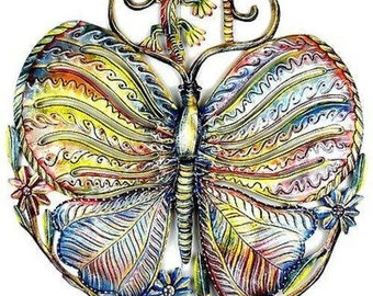 """Croix des Bouquets 24"""" Handcrafted Painted Butterfly and Gecko Metal Wall Sculpture"""