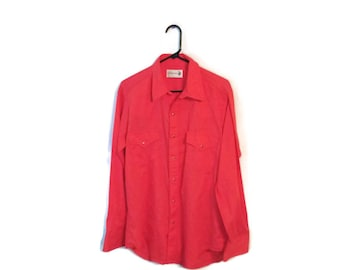 Sears Roebuck Pearl Snap vintage shirt size Large 16 16 1/2 cherry red thin western cowboy
