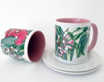 Gum Tree Flowers Mug, Mother's Day Gift, Pink Flowers Mug, Australian Flora Mug, Unique Coffee Mug, Art Tea Mug, Floral Mug, Eucalyptus Mug