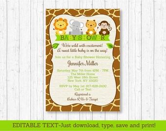 Jungle Safari Baby Shower Invitation / Safari Baby Shower / Jungle Baby Shower / Jungle Animals / Editable INSTANT DOWNLOAD A100