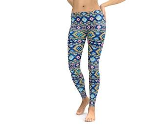Tribal Pattern Leggings or Capris Woman's Leggings Printed Leggings Yoga Workout Exercise Pants Leggings Pants