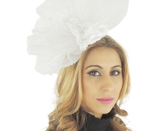 White Jeremial Fascinator Hat for Weddings, Races, and Special Events With Headband