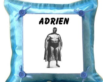 Blue cushion wrestler personalized with name